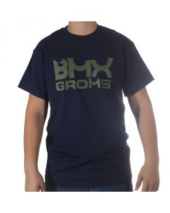 BMX Groms Navy Tee - Army Green Logo